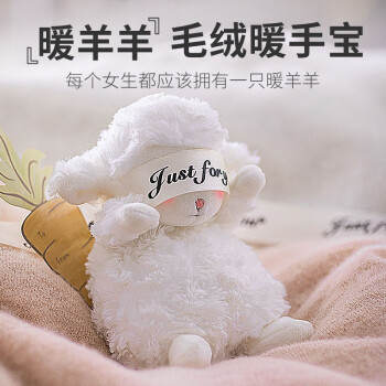 【暖羊暖手宝】誕生日プリセット女子友達に彼女のガールフレンドを送るクレエテイティ用品のぬいぐるみの白いバレンデーは、妻と娘のお姉さんの神器暖赤ちゃんに充電します。【暖羊暖手宝】は、TAの子羊です。
