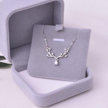 S 925銀一路の鹿はあなたのネックレスがあります。バレンタープレゼントは彼女の誕生日をプレゼントします。プロゼットの女の子の妻の結婚記念日ねずみ年の女の子のきらきら輝く鹿の角のネックレス+ダウンジャケット+プレゼント袋